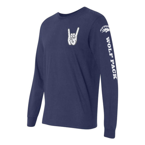 "Nevada Wolf Pack ""WOLF PACK"" Hand Sign Long Sleeve Shirt"