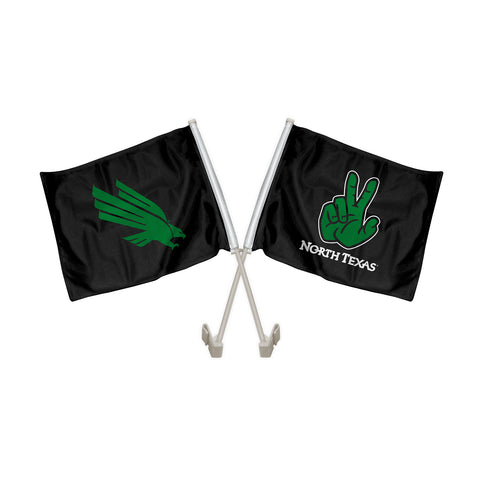 "North Texas Mean Green ""EAGLE CLAW"" Hand Sign Car Flag"