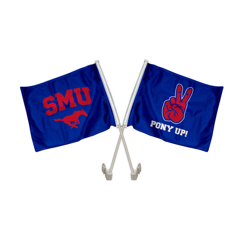 "SMU Mustangs ""PONY UP"" Hand Sign Car Flag"