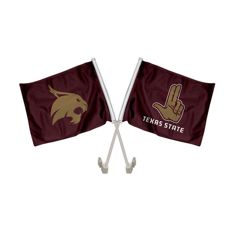 "Texas State Bobcats ""HEART OF TEXAS"" Hand Sign Car Flag"