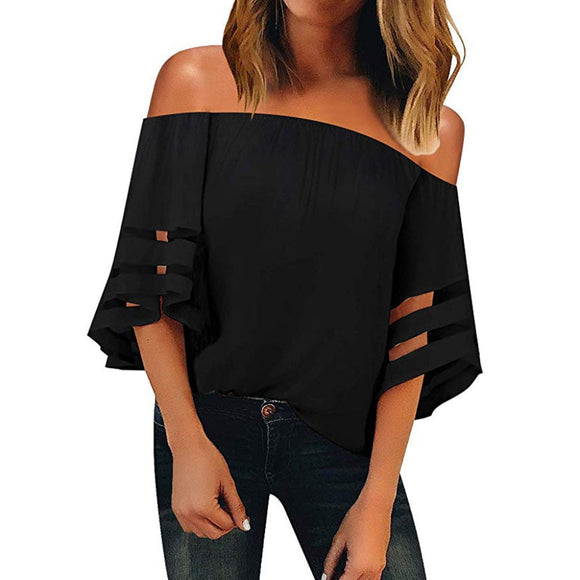 Womens Off Shoulder Mesh Blouse