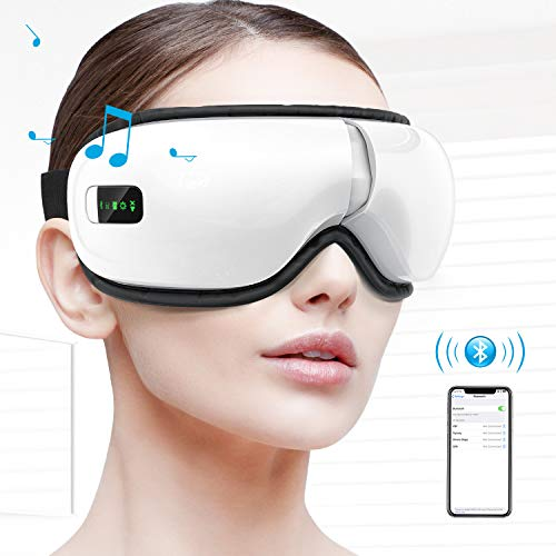 Eye Massager, Portable Electric Bluetooth Eye Machine with Heat, Air Pressure, Music , Vibration for Eye Fatigue, Dry Eyes and Dark Circles, Rechargeable and 180° Foldable