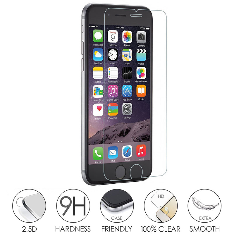 9H Hardened Glass Screen Protector For Iphone: X, 8, 8+, 7, 7+, 6, 6+, 5, 5c, 4, and Cleaning Kit