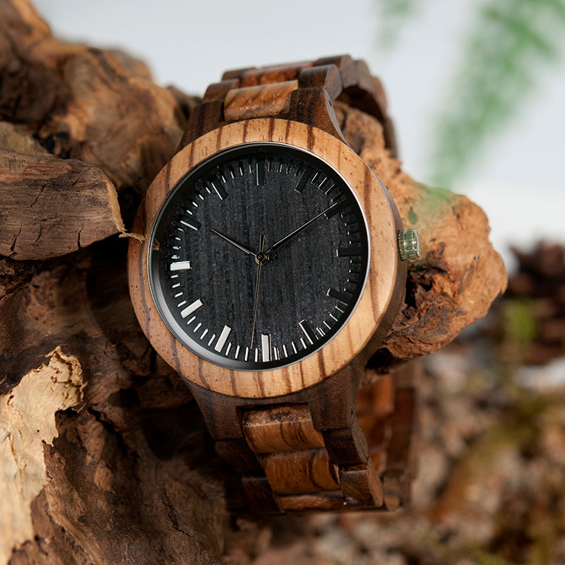 BOBO BIRD Mens Wood Watch Zabra Wooden Quartz Watches