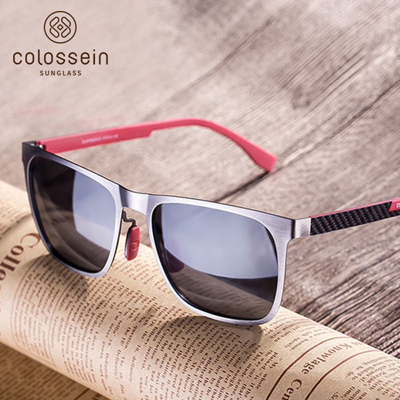 COLOSSEIN Orange Label Classic Fashion Men Sunglasses Metal Square Frame Polarized