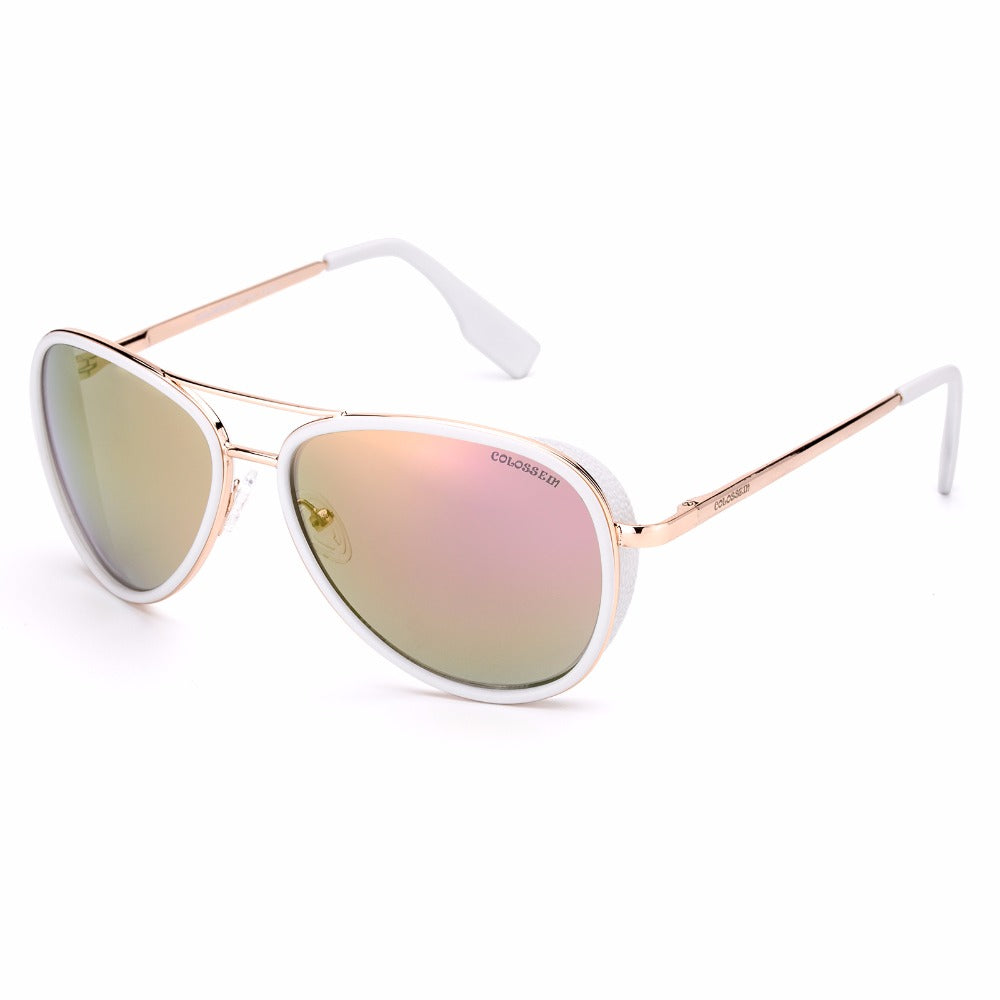 COLOSSEIN Women Sunglasses Vintage Pilot Coating Glasses With Metal Frame