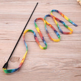 Pet Cat Toy Rainbow Stripe Cloth Feather Tease