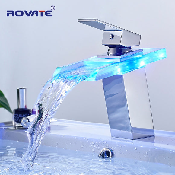 Waterfall Bathroom Faucet with Color Changing LED