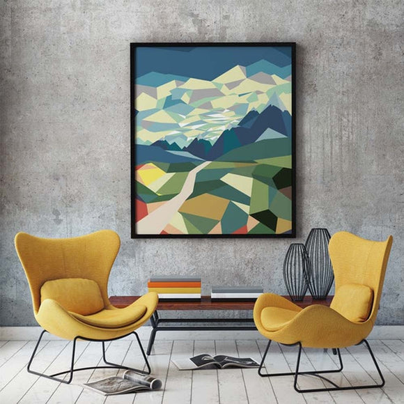 Geometric Landscape Canvas