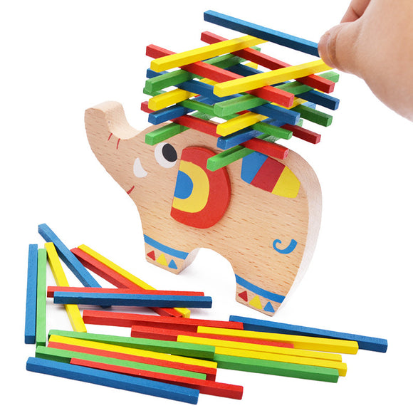 Wood Elephant Balance Beam Game