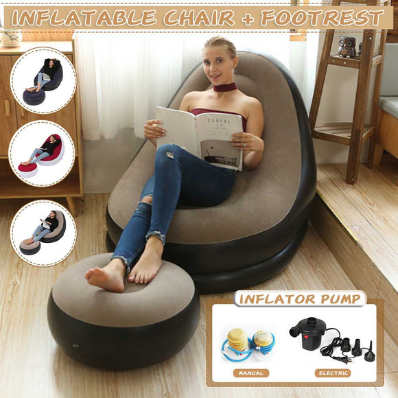 Inflatable Folding Recliner with Pump Included