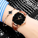 WISHDOIT Women Fashion dress Watch with Leather Band