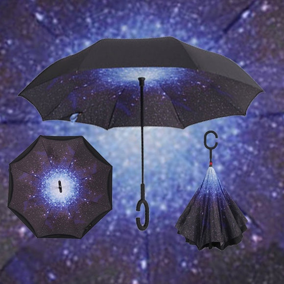 Windproof Reverse Folding Double Layer Inverted Umbrella w/ C-Hook