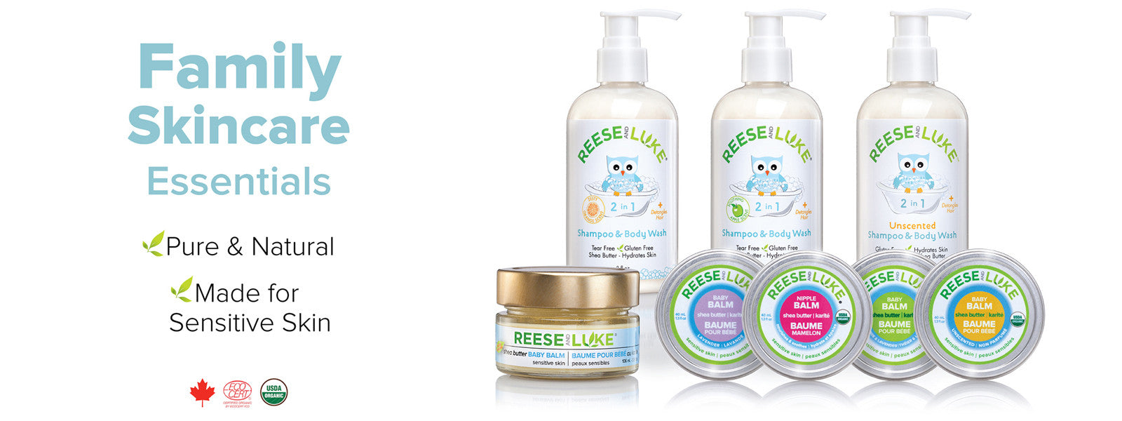 Family Skin Care Essentials - Pure & Natural - Shea Butter Balm, Shampoo, and Body Wash