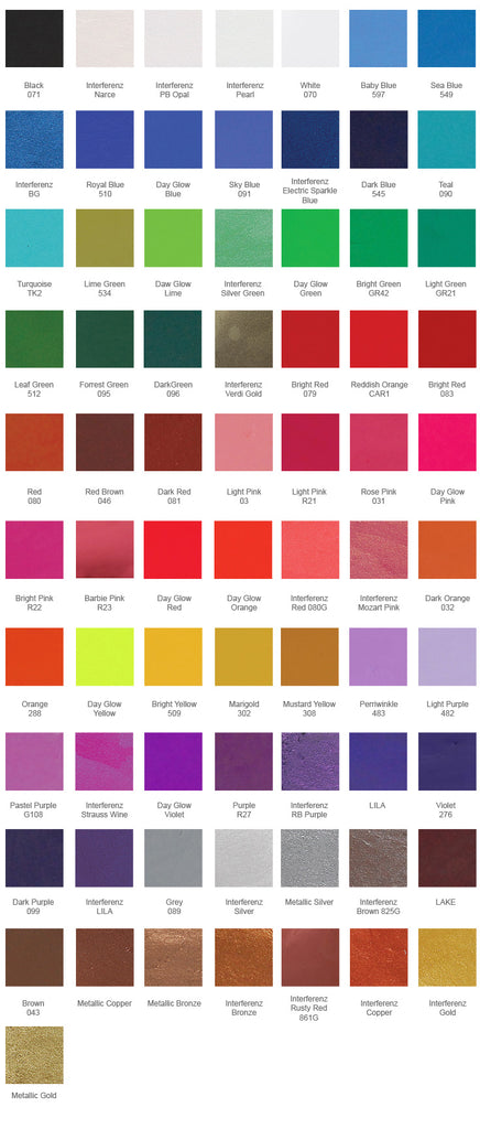 Kryolan build your Own Palette Color Chart