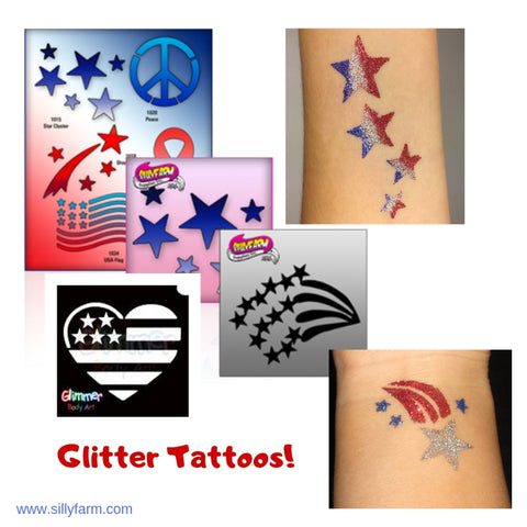 glitter tattoos for 4th of july