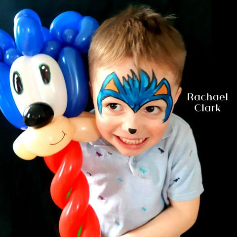 Sonic face paint with matching balloons