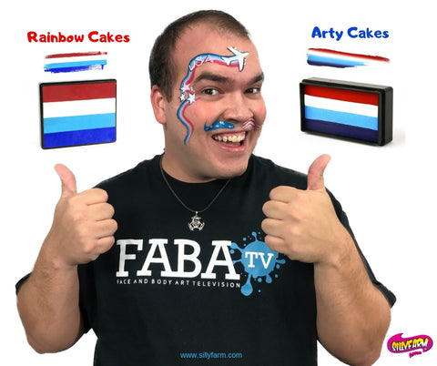 Rainbow and Arty cakes for face 4th of july face painting