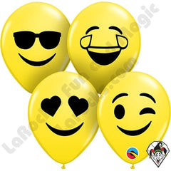"5"" Assorted Smiley Emoji Face Printed Latex 100pk - Silly Farm Supplies"