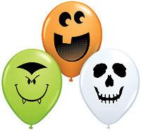 "5"" Halloween Face Assortment Qualatex Balloons 100 pk - Silly Farm Supplies"