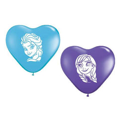 "6"" Frozen's Anna & Elsa Face Assortment Heart Qualatex Balloons 100pk - Silly Farm Supplies"