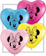 "6"" Heart Minnie Mouse Face Assortment Qualatex 100pk - Silly Farm Supplies"