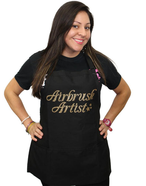 Airbrush Artist Black with Gold Apron