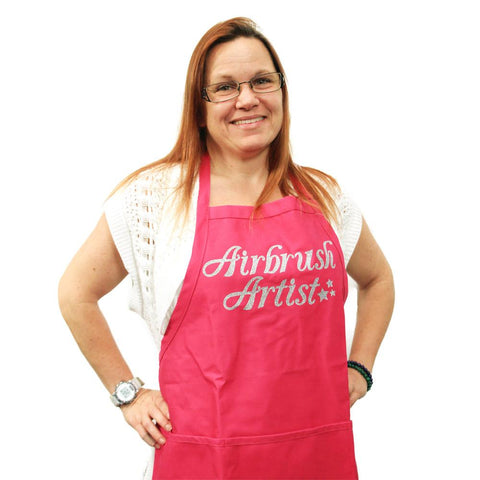 Airbrush Artist Pink with Silver Apron