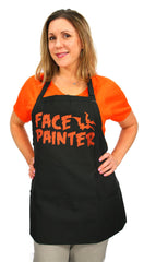 Halloween Face Painter Black Apron with Orange Lettering