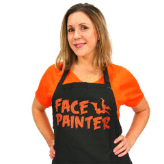 Halloween-style Halloween-style Black Apron with the words Face Painter in Glitter Orange lettering