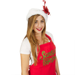 Red Apron with the words Santa's Helper in Glitter Green lettering