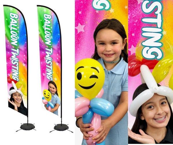 Balloon Twisting Flag Banner with Pictures