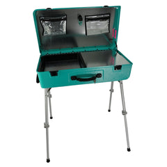 "Bright Teal Craft-n-Go Paint 28"" Station with Accessories - Silly Farm Supplies"