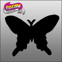 Butterfly8 (butterfly pointed wings silhouette) Glitter Tattoo Stencil 10 Pack - Silly Farm Supplies