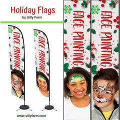 Christmas Face Painting Flag Banner with Face Designs - Silly Farm Supplies
