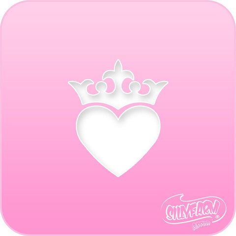 Crown Heart Pink Power Stencil