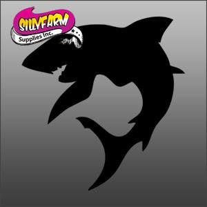 Curved Shark Glitter Tattoo Stencil 10 Pack