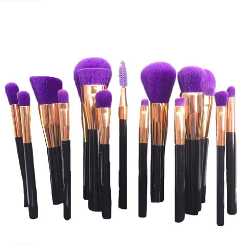 Elisa's Majestic Purple 15pc Make Up Brush Set
