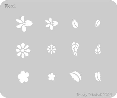 Floral Trendy Tribal Stencil