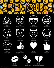 Glimmer Body Art Emoji Glitter Tattoo Stencil & Poster Set - Silly Farm Supplies