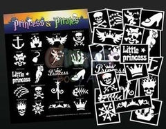 Glimmer Body Art Glitter Tattoo Princess and Pirates Stencil & Poster Set - Silly Farm Supplies