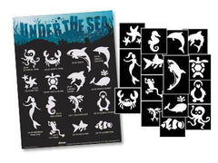 Glimmer Body Art Under the Sea Glitter Tattoo Stencil & Poster Set - Silly Farm Supplies
