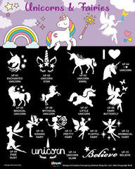 Glimmer Body Art Unicorns & Fairies Glitter Tattoo Stencil & Poster Set - Silly Farm Supplies