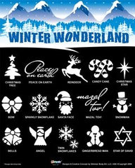 Glimmer Body Art Winter Wonderland Glitter Tattoo Stencil & Poster Set - Silly Farm Supplies