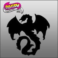 Gothic Dragon 1 Glitter Tattoo Stencil 10 Pack