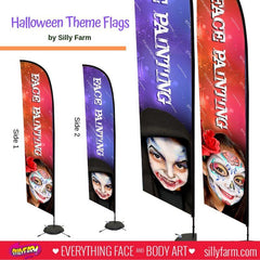 Halloween Face Painting Flag Banner with Face Designs - Silly Farm Supplies