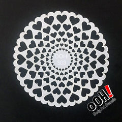 Heart Sphere Airbrush & Face Paint Stencil by Ooh! Body Art (S03) - Silly Farm Supplies