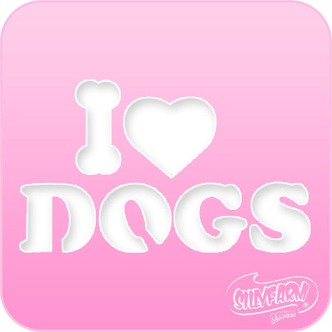 I Love Dogs Pink Power Stencil