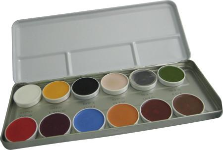 Kryolan 12-Color Supracolor Grease Palette 1004B