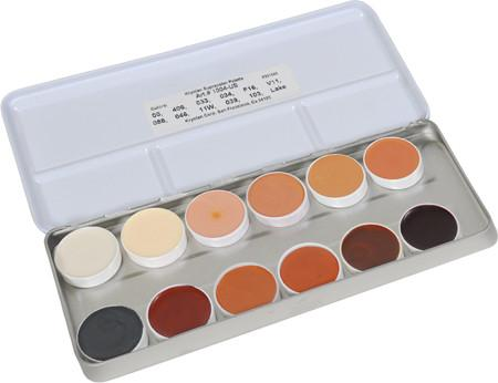 Kryolan 12-Color Supracolor Grease Palette 1004US